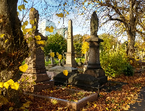 Spectacular autumn colours and blue skies at historic Brompton Cemetery