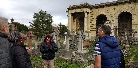 Enjoying a fascinating guided tour of the cemetery with Friends and other stakeholders